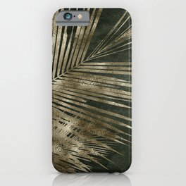 Golden green palm leaves pattern iPhone Case