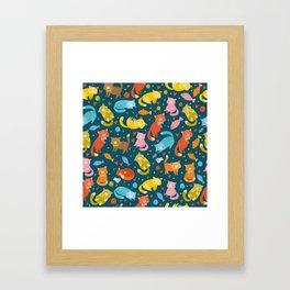 Colorful cat pattern Framed Art Print