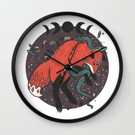 Jumping Fox With Snake, Gemstones, Moon Phases, And Witch Design Elements Wall Clock