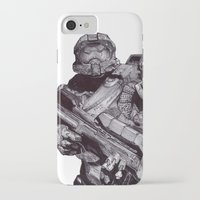 master chief iPhone & iPod Cases featuring Master Chief Pen Drawing by DeMoose_Art
