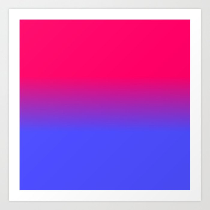 Neon Blue And Bright Pink Ombré Shade Color Fade Art Print