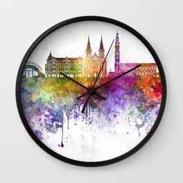 Czestochowa  skyline in watercolor background Wall Clock