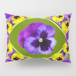 GREEN GEOMETRIC  PURPLE & YELLOW  PANS GARDEN ART Pillow Sham