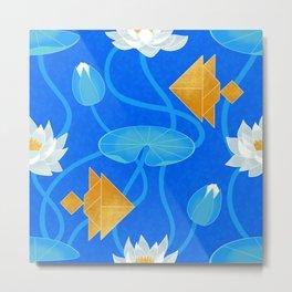 Tangram goldfish and water lilies in blue Metal Print