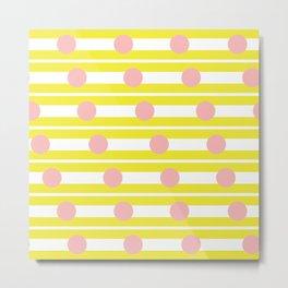 Geometric Stripe & Spot Yellow & Pink Metal Print