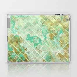 Turquoise & Gold marble mosaic Laptop & iPad Skin