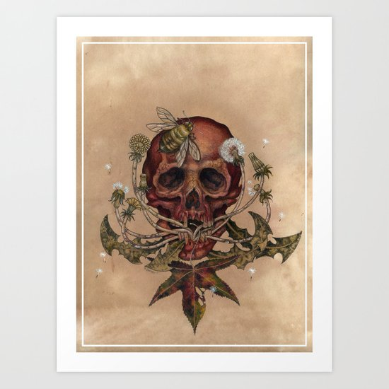 Skull with Bee Art Print
