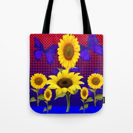 SUNFLOWERS & BUTTERFLIES RED OPTICAL ART Tote Bag
