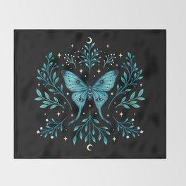 Mystical Luna Moth - Turquoise Throw Blanket