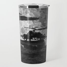 Sunset over the Lake Watercolor (Black and White) Travel Mug