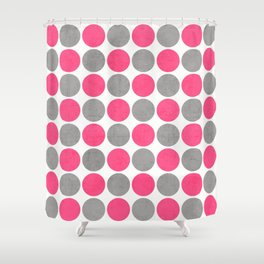hot pink and gray dots Shower Curtain
