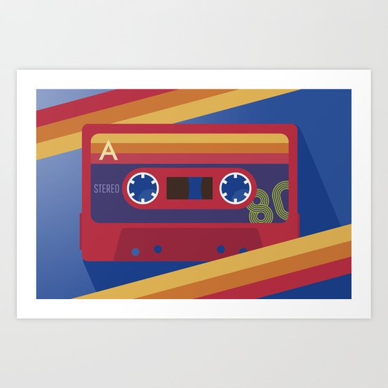 80s Retro Tape Deck Art Print