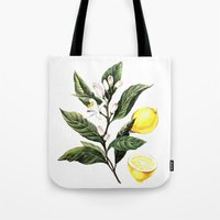 lemon Tote Bags featuring Lemon by Anna Yudina