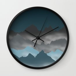 Blue Mountains and Mist Digital Illustration - Graphic Design Wall Clock