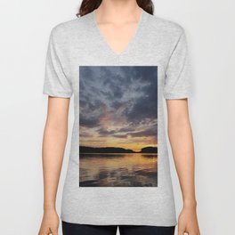 Spring Sunset - beautiful colors and reflections - cloudy sky Unisex V-Neck