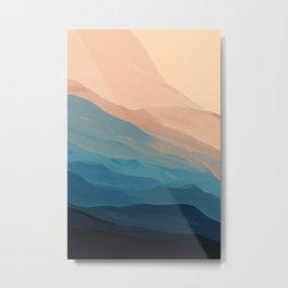 Blue Waves In Desert Peaks Metal Print