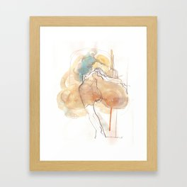 Cloud Mouth: teal and sunset Framed Art Print