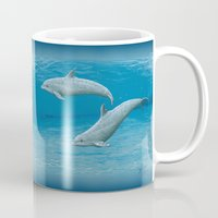 dolphins Mugs featuring Sandscape Dolphins ~ Acrylic by Amber Marine