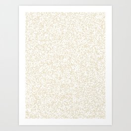 Tiny Spots - White and Pearl Brown Art Print