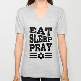 Eat Sleep Pray Judaism Gift For Jewish Prayer Unisex V-Neck