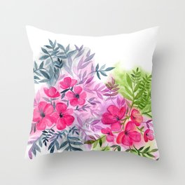 Dual Bouquets - a watercolor floral Throw Pillow