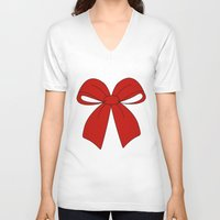 bow V-neck T-shirts featuring bow by  MuDi