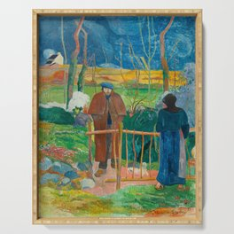 Bonjour Monsieur Gauguin (II) - Paul Gauguin (1889) Serving Tray