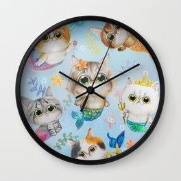 Purrmaids - cute cat mermaids Wall Clock