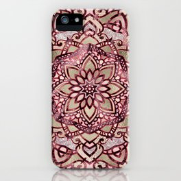 Burgundy plum mandala iPhone Case