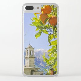Oranges, Blue Sky, and Mountains in Northern Italy Clear iPhone Case