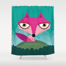 Hot pink fox Shower Curtain