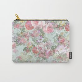 Country chic vintage green blush pink elegant floral Carry-All Pouch