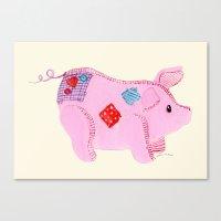 piglet Canvas Prints featuring pink piglet by Andrea van Dalen-Krens