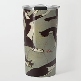 Edited magazine cover - The Lone hand - 1909 Cat Playing With Mouse Vintage Pattern Travel Mug