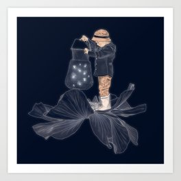 Whimsical print , art for boys room , quirky art , fireflies print poster Art Print