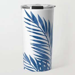 Palm Leaves Dark Blue Travel Mug