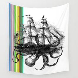 Kraken Attacking ship on Colorful Stripes Wall Tapestry