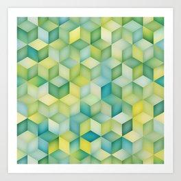 Multicolor Gradient Cube Shape Rhombus Grid Geometric Pattern Art Print