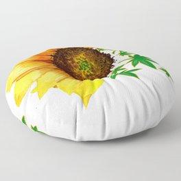 Half Sunflower Half Marijuana Leaf Pot Leaf Floor Pillow