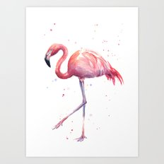 Flamingo Watercolor Pink Bird Art Print