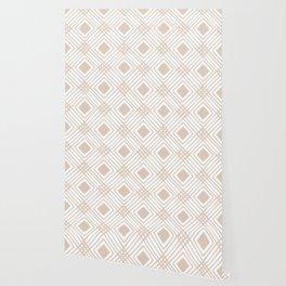 Criss Cross Diamond Pattern in Tan Wallpaper