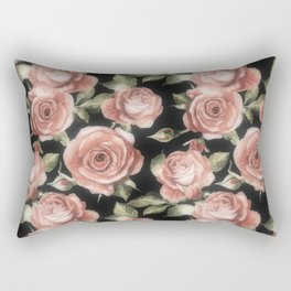 Classic Pink Roses On Black Rectangular Pillow
