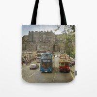edinburgh Tote Bags featuring Edinburgh by Peaky40
