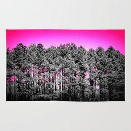 Gray Trees Hot pink Sky Rug