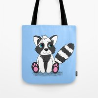 racoon Tote Bags featuring Racoon by BlackBlizzard