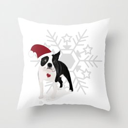 boston terrier xmas Throw Pillow