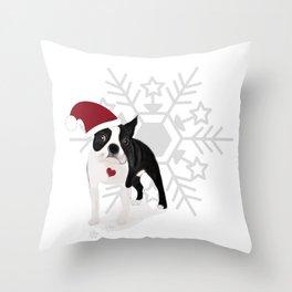 boston terrier xmas Throw Pillow