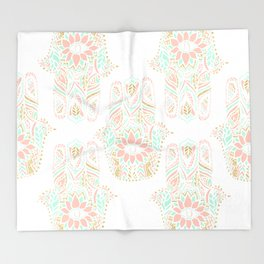 Modern girly pink mint gold Hamsa hand of fatima Throw Blanket