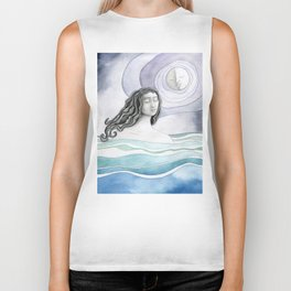 Swimming with the Moon Biker Tank