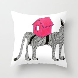 Cat-Snail Throw Pillow
